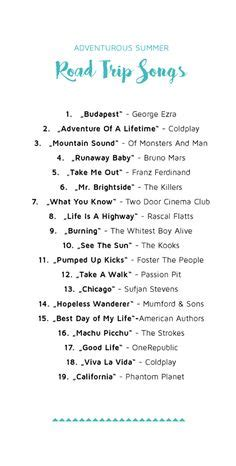 road song list 1000 ideas about song list on 2016
