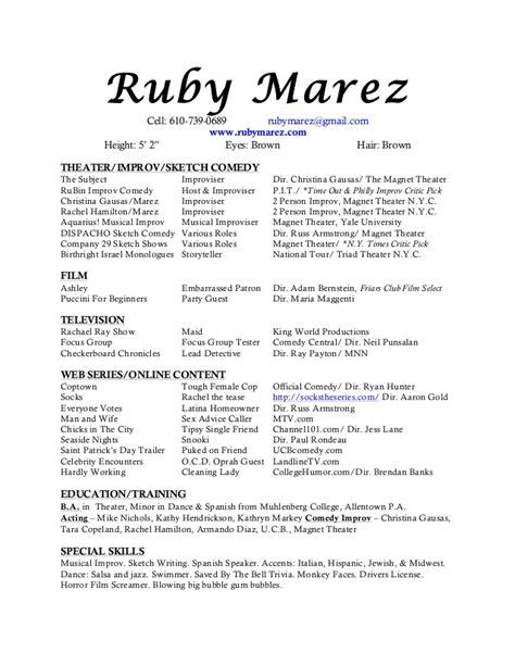 improv resume resume ideas
