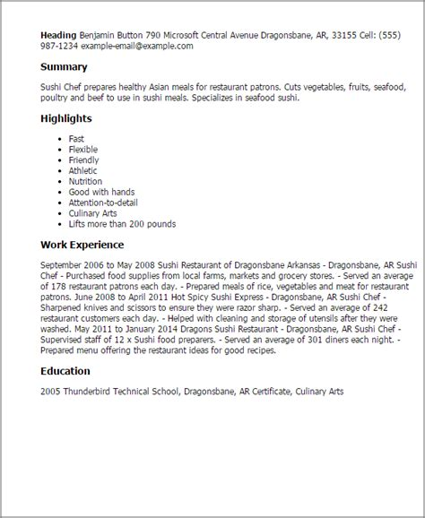 Sushi Chef Cover Letter sushi chef resume template best design tips myperfectresume