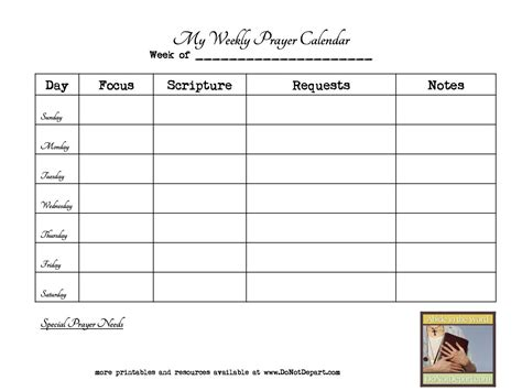 weekly prayer calendar template google search prayer