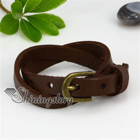 Genuine Leather Layered Bracelet genuine leather two layer layer snap wrap bracelets