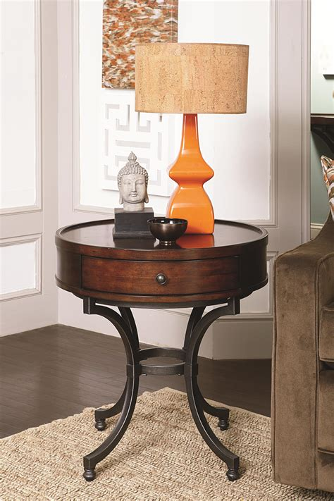 accent table decorating ideas round end table with 1 drawer by hammary wolf and