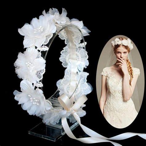 Bridal Flower Circle Headpiece Flower Wreath Lace Wedding