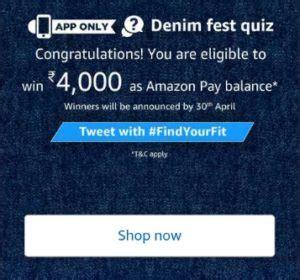 amazon quiz winner answers amazon denim fest quiz answer win rs 4000