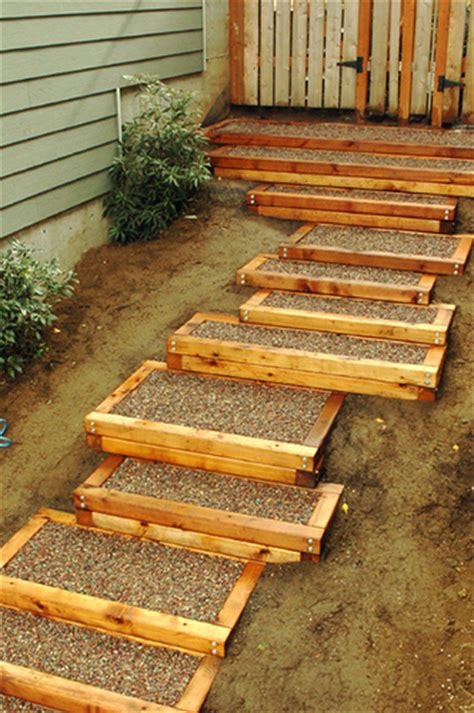 backyard steps exterior cedar stairs backyard and patios