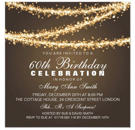 60 birthday invitations templates 60th birthday invitation card template free