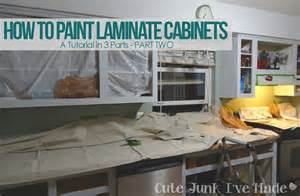 Can Laminate Kitchen Cabinets Be Painted Cute Junk I Ve Made How To Paint Laminate Cabinets Part