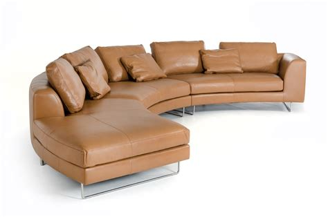 Camel Leather Sofa by Divani Casa Tulip Modern Camel Leather Sectional Sofa