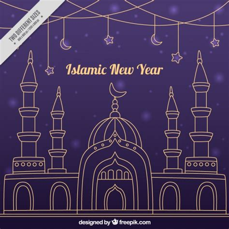 new islamic year islamic new year purple background of mosque