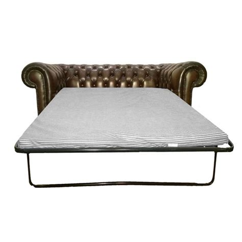Chesterfield Antique Brown Genuine Leather Two Seater Sofa Bed Chesterfield Sofa Beds