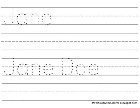 free printable name tracing templates sweet sugar blossoms name tracer template