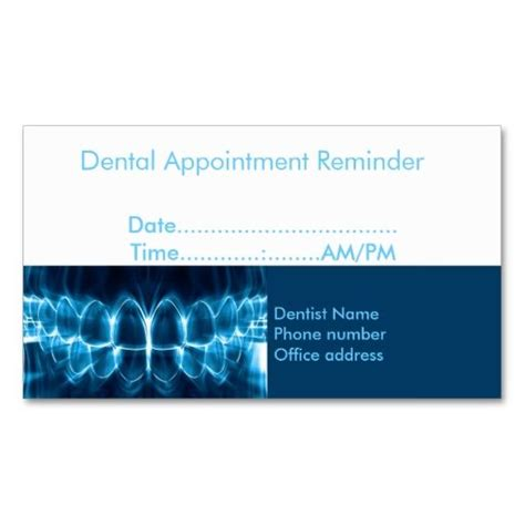 dental appointment card template free dentist appointment reminder