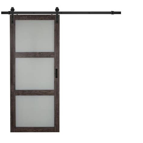 interior barn doors with glass shop iron aged grey 3 lite frosted glass sliding barn