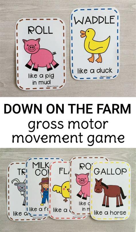 printable animal movement cards free printable down on the farm gross motor movement game