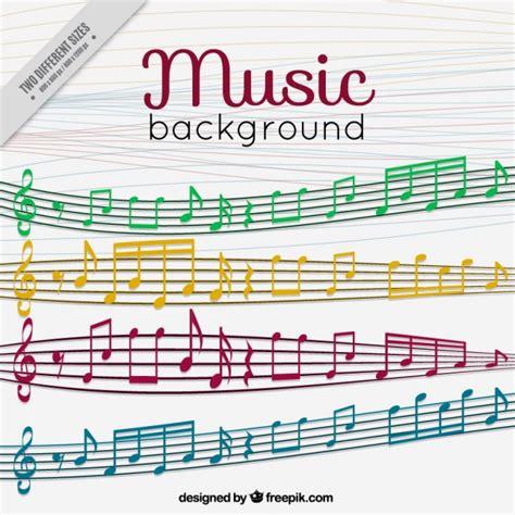 imagenes notas musicales de colores fondo de pentagramas y notas musicales de colores
