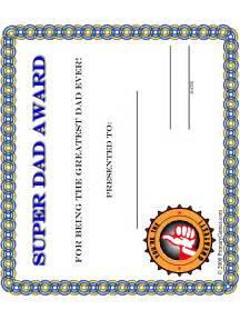 father s day crafts super dad award certificate