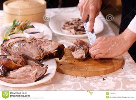 duck in cuisine cooking roast duck in restaurant stock image image 33110621