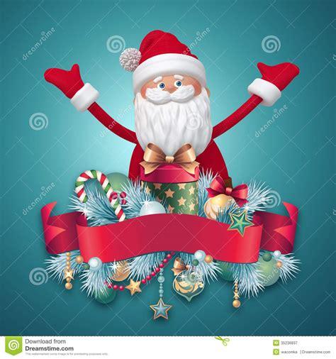 santa claus character  red ribbon tag royalty  stock photography image