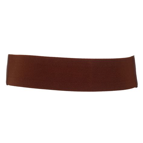 plus size vintage faux leather wide elastic belt brown