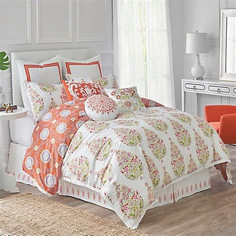 orange reversible comforter dena home santana reversible comforter set in white