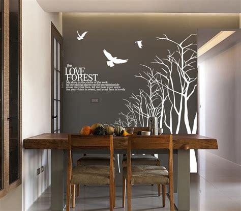 Dining Room Wall Decals Forest Wall Sticker For Dining Room Tree Branch Wall Decal Winter Tree Wall Decals Large