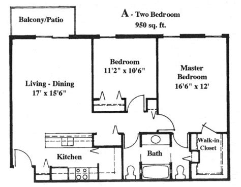 Sq Ft by Apartment With 950 Square Feet