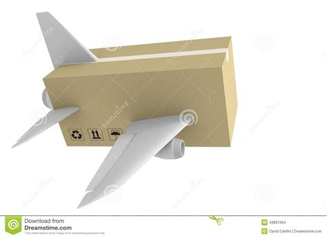 Wings Box Express Airmail Delivery And Global Shipping Concept Stock