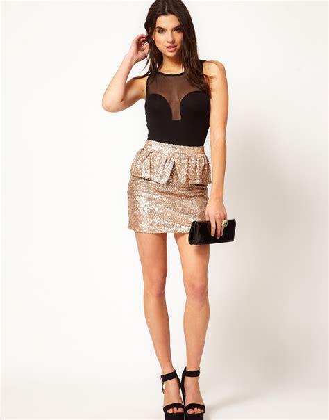Rok Item Peplum 1 asos collection sequin skirt with peplum in metallic lyst