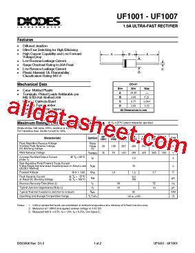 transistor uf uf1007 데이터시트 pdf diodes incorporated