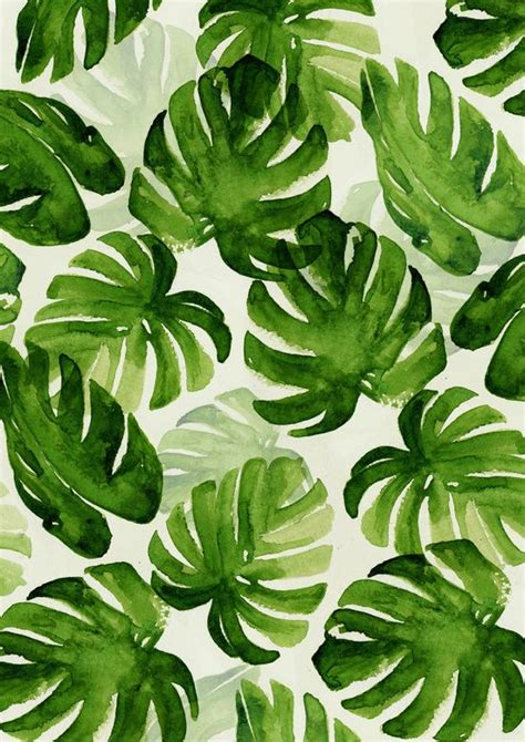 green wallpaper with leaf pattern tropical art print pinteres