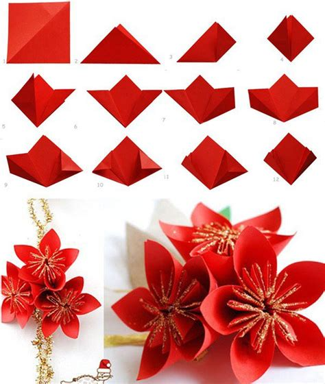 Paper Flower Folding - diy paper fold a 5 pointed origami step by step