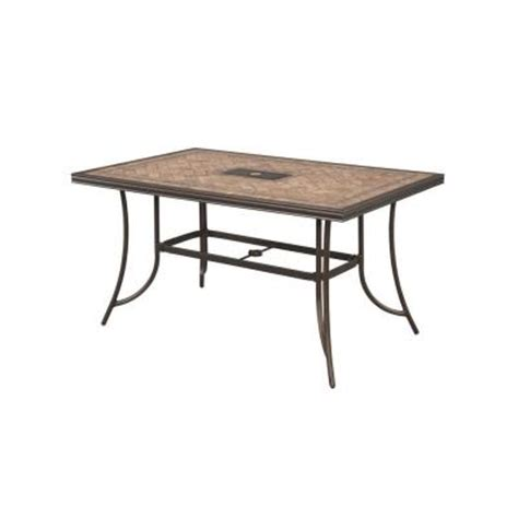 Tile Top Patio Tables Hton Bay Westbury Rectangular Tile Top Patio High Dining Table Anq05117k01 The Home Depot