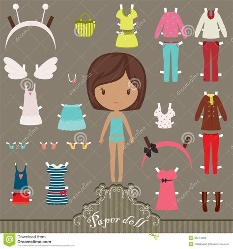 paper doll outfits stock photo image 36574600 underwear collection royalty free stock vector art