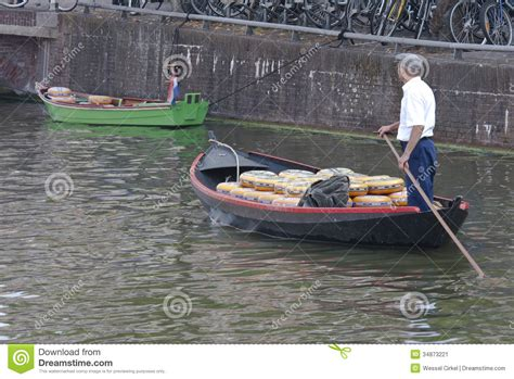 sailing boat market sailing cheese transport in alkmaar holland editorial