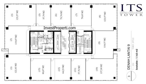 Office Tower Floor Plan by Its Office Tower Floor Plan Lantai 9