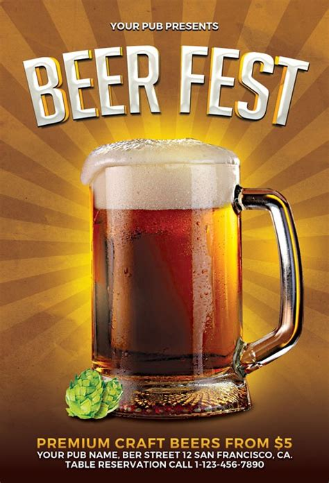 Download Beer Fest Flyer Template For Photoshop Free Pong Flyer Template