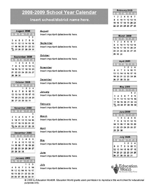 school year calendar template 2008 2009 school year calendar template education world