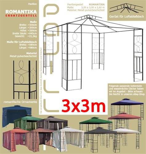 pavillon 3x3 dach ersatzgestell pavillon romantika 3x3m pavillion