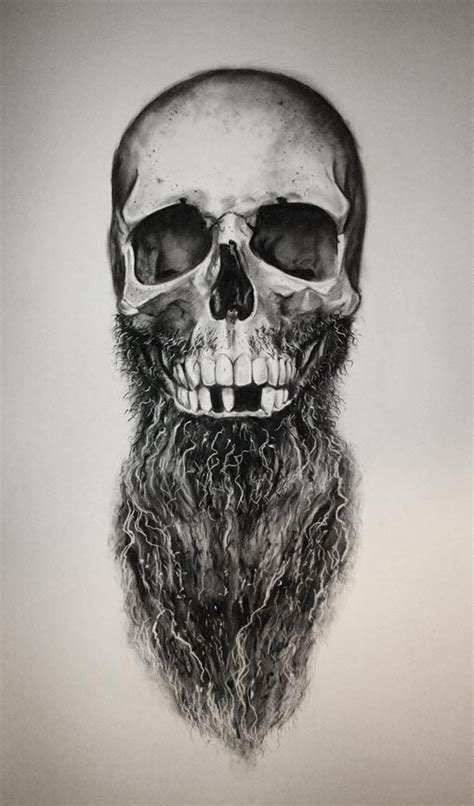 bearded skull tattoo daniel a bavell sketch bearded skull beard beards