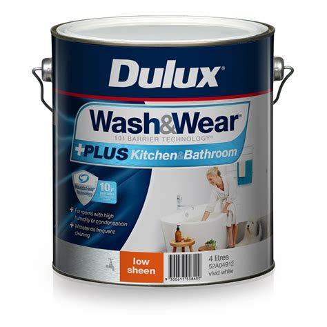 bunnings bathroom paint dulux wash wear 4l plus kitchen bathroom vivid white