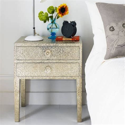 Gold Bedside Ls Embossed White Metal 2 Drawer Bedside Table Graham Green