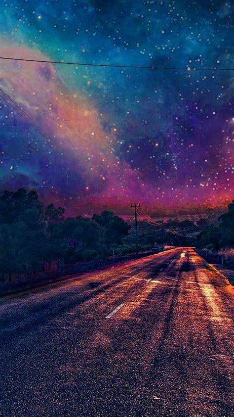 colourful galaxy view  road wallpaper iphone wallpaper iphone wallpapers