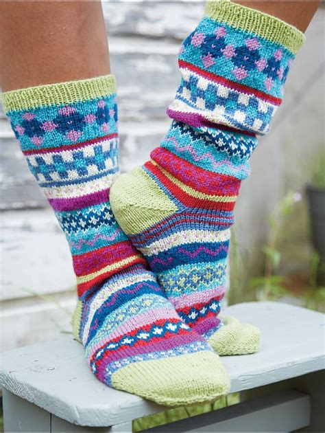 nordic pattern socks psychedelic socks fair isle nordic knits laughing hens