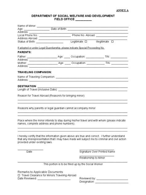 application letter to dswd dswd travel clearance for minor application form