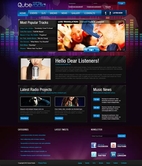 templates for radio website cube radio station joomla template on behance
