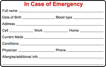 html contact card template cycling skills in of emergency card