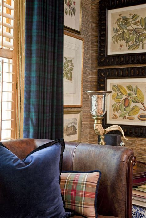 black watch tartan curtains i love this look tartan old leather chesterfield