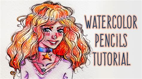 tutorial watercolor manga how to use watercolor pencils draw curly hair anime girl