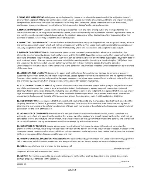 Washington Commercial Lease Agreement Free Download Free Washington State Rental Agreement Template
