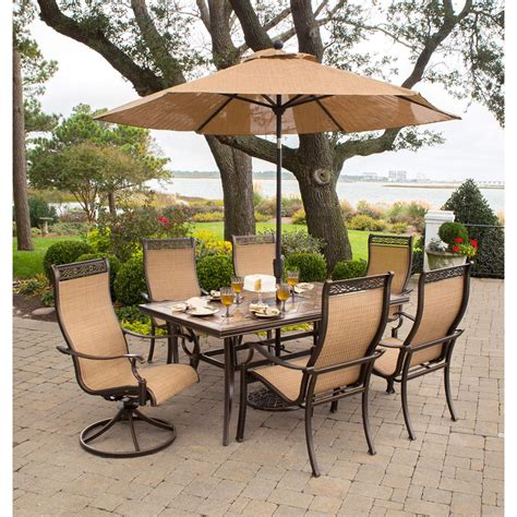 patio set umbrella monaco 7 dining set with 9 ft table umbrella